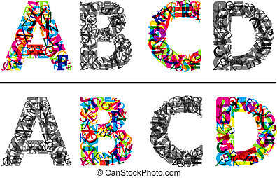 Colorful and monochrome alphabet letters A, B, c and D