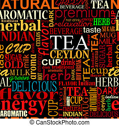 Seamless background with tea tags for food and beverage...