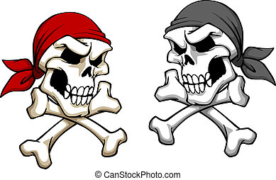 Danger pirate skull in cartoon style. For mascot or tattoo...