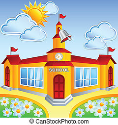 Vector cartoon school building on a sunny day, rings a bell