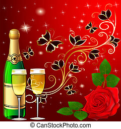 festive background with butterflies and rose champagne