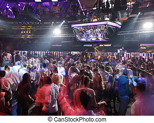 crowd at club - funky shot of crowd at nightclub in madrid