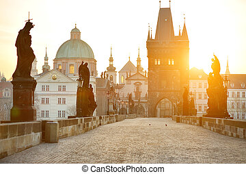 Charles Bridge Karluv Most and Lesser Town Tower, Prague,...