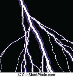 Lightning Bolts - Bolts of lightning isolated over a black...