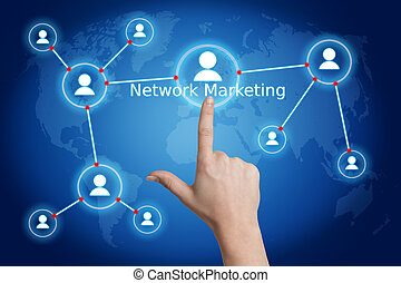 internet business concept: hand pressing a network marketing...