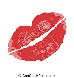 Red Lipstick - A red lipstick smudge isolated over white.