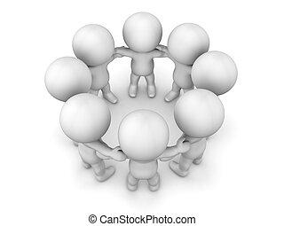 3D Men holding hands in circle team - Teamwork concept - 3d...