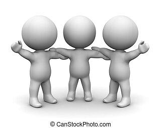 3D Men holding hands teamwork - Teamwork concept - three 3d...