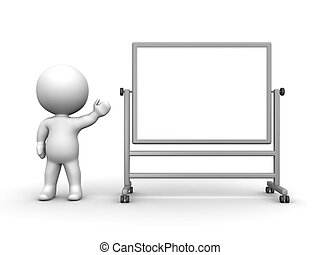 3D Man presenting Large Whiteboard - A 3d guy showing a...