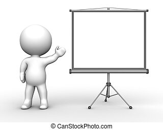 3D Man presenting Large Projector - A 3d guy pointing to a...