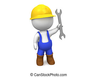 3D Man with Hard Hat, Screwdriver, - A 3d guy dressed in...