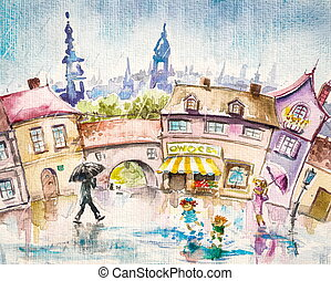 Summer rain - City scene-people in the town square at summer...