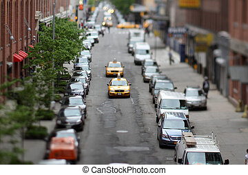 Manhattan street view - a street scene in Manhattan with a...