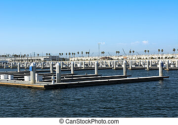 Boat docks - Empty boat docks in the Port of Los Angeles on...