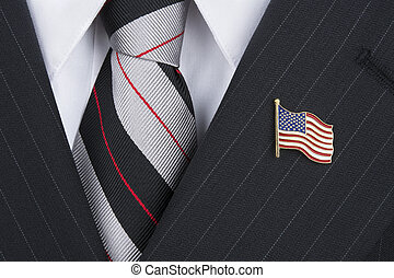 Politician wearing lapel pin - A politician wearing an...