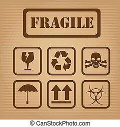 fragile design over brown background vector illustration