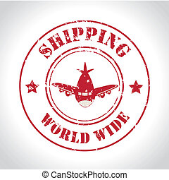 shipping world wide over gray background vector illustration...