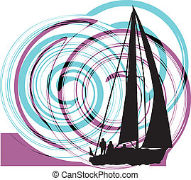 Sailing luxury yacht Vector illustration
