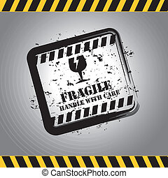 fragile signal over gray background vector illustration