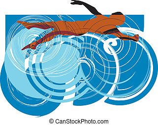 Man swimming. Vector illustration