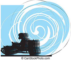 Kart race. Vector illustration