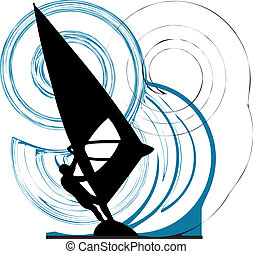 Windsurfing. Vector illustration