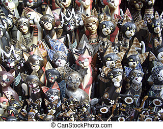 Carved Cats - Carved cats in Ubud market, Bali