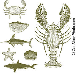 Woodcut Sea Creatures - Woodcut-style illustrations of a...