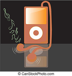 pink mp3 - a pink mp3 reproducing some white music in a...