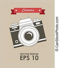 camera design over beige background vector illustration