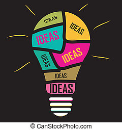 idea buld - Inphography of ideas ina yellos blue red pink...