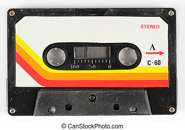 old cassette - close-up of a music cassette