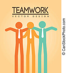 teamwork design over cream background vector illustration