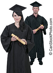 Graduate - Young woman and man in their graduation robes