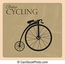 retro cycling over black background vector illustration