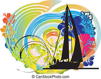 Sailing luxury yacht. Vector illustration