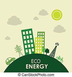 eco energy design over landscape bacground vector...