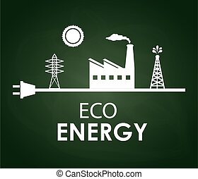 eco energy design over greenboard bacground vector...