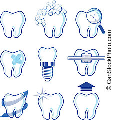 dental icons vector designs - dental icons designs isolated...