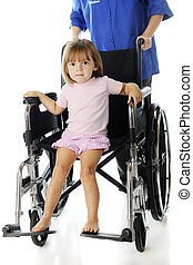 Tiny Hospital Patient in a Discharge Wheelchair - an...