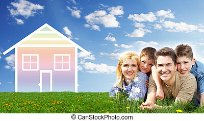 Family house. - Happy family at home. Real estate and...