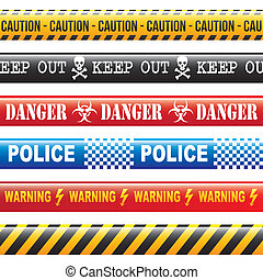 caution tapes over white background vector illustration
