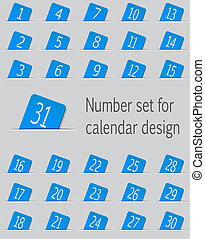 Set of calendar icons with numbers. Vector illustration