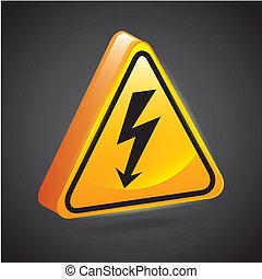 high voltage signs over black background vector illustration...