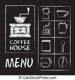 coffee house over blackboard background vector illustration