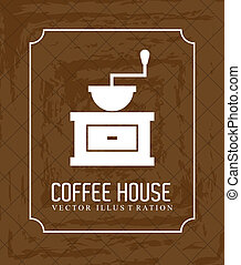 coffee house over brown background vector illustration