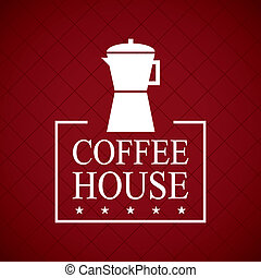 coffee house design over red wine background vector...