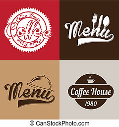 coffee house labels over colorful background vector...