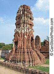 Damaged Pagoda in Wat Phra Mahathat, Ayutthaya