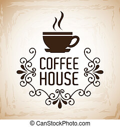 coffee house design over vintage background vector...